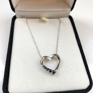 Sterling silver/sapphire Heart Necklace